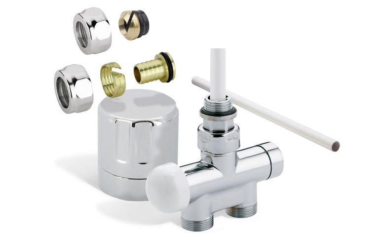 Kit monotube avec entraxe 50 mm chrome - Accessoire raccordement eau chaude - Thermor